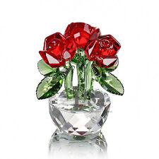 Crystal Figurine Table Ornament Elegant Red Rose Art Xmas Gift Glass Status