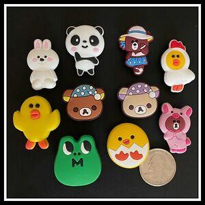 10 Shoe Charms for Crocs LINE FRIENDS Sally Chick Brown Choco Bear Panda Cony