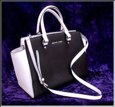 Fabulous Michael Kors Large Black & White Selma Saffiano Leather Satchel