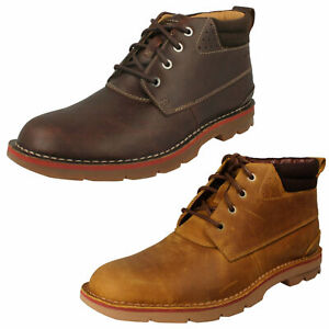 MENS CLARKS VARICK HEAL LACE UP CASUAL WORK CHUKKA ANKLE BOOTS LEATHER SIZE