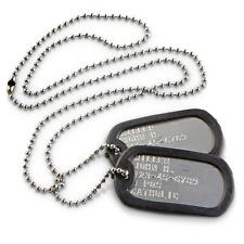 Military Dog Tags Personalized Stainless Steel Matte  OFFICIAL ARMY USMC USA