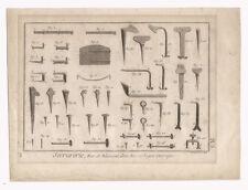 1785 Locksmith Hardware Engraving, Serrurerie Fers de Bâtiment Bernard (direxit)