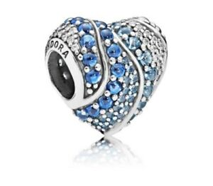 Pandora Charm New Authentic PANDORA Blue Water Crystal Heart Charm  797015NABMX