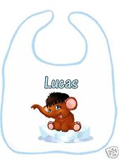 Bavoir bébé blanc bordure bleue réf G06 personnalisé avec prénom