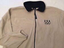 USA Olympics Ivory Cream Beige Fleece Full zip Jacket Men's XL