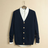 Men V-neck Sweater Knitted Overalls Top Casual Long Sleeve Solid Color Soft Coat