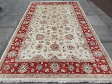 Traditional Hand Made Natural Dye Afghan Zigler Wool Cream Red Carpet 310x197cm