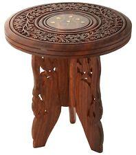 Wooden Corner Bedside End Table for Living Room   Brown Decorative Carved Table