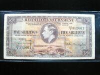 BERMUDA BRITISH 5 SHILLING 1937 P38 KGVI 61# BANK CURRENCY BANKNOTE MONEY