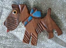 Cute Carved & Hand-painted Wooden Dog Brooch 1940s vintage