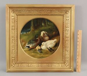 19thC Antique Oil Painting Ducks & Ducklings after John Frederick Herring Jr NR