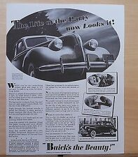 1938 magazine ad for Buick - '39 Buick Eight, The Life of the Party now Looks It