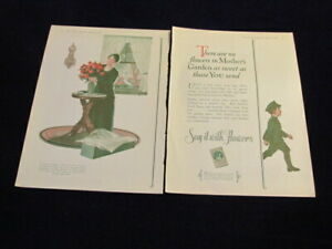 Vintage Original 1927 Say It With Flowers 2 Page Ad Q276