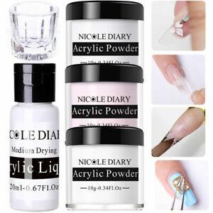 NICOLE DIARY 5Pcs 10ml Nail Acrylic Powder 20ml Acrylic Liquid Glass Cup Kit