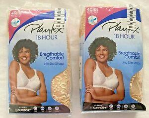 NEW Playtex 18 Hour Bra 48D Wirefree 4088 Lot of 2 Honey No Slip Strap Two Bra's