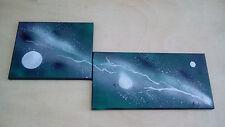 """Tableau comtemporain abstrait """"Galaxie"""" Vert Gris - Triptyque - TOILE UNIQUE"""