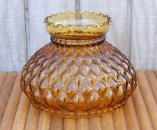 """Vintage Amber Glass Lamp Replacement Shade Quilted Crimped Edge 8"""" Diameter"""
