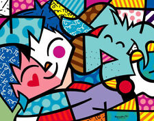 Best Friends by Romero Britto Art Print Child Hugs Hug Dog Pop Poster 11x14