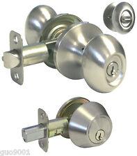 Entrance Satin Nickel Oval Egg Knob Deadbolt Combo Door Lock key lever keyed