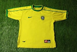 BRAZIL NATIONAL TEAM 1998/2000 FOOTBALL SHIRT JERSEY HOME NIKE ORIGINAL YOUNG L