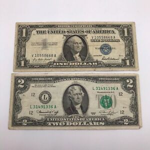 Nice Vintage Collection Of United States Bank Notes x 2 - 1957 $1 And 1976 $2