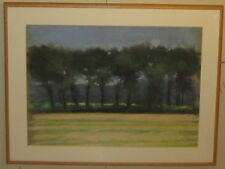 Original JOHN STOCKWELL 'Tree Lined Field LANDSCAPE' Pastel Painting - Cape Cod