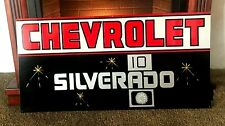 Vintage Hand Painted CHEVY SILVERADO 10 Truck Car Gas Sign GMC Chevrolet Shop