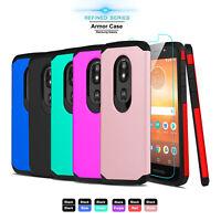 For Motorola Moto E5 Play/Cruise Shockproof Armor Case Cover + Screen Protector