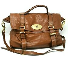 $1800 Mulberry Alexa Oak Soft Buffalo Leather Large Satchel Hand Bag Authentic