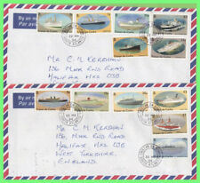 Tristan Da Cunha 1994 Ships definitives on two airmail covers