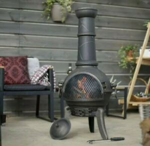 La Hacienda Large Cuba Cast Iron Chiminea Log Burner Firepit Patio Heater Fast🚚