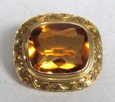 BEAUTIFUL 14K YELLOW GOLD CITRINE BROOCH