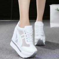 Women Hidden Wedge Heels Sneaker 2019 Mesh Platform Leisure Shoes Creeper New