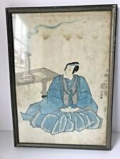 Early Antique Japanese Wood Block SEATED NOBLE SIGNED