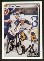 Keith Carney signed autograph auto 1992-93 UD Hockey Trading Card