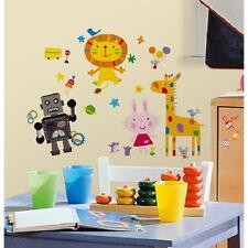 LAZOO wall stickers 92 colorful decals lion bunny rabbit robot giraffe decor