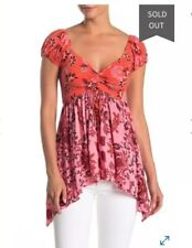 Free People La Bamba Babydoll Top - Color RED - Size S- Retail $78.00 NWOT
