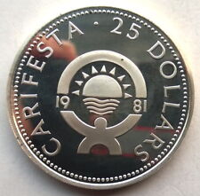 Barbados 1981 Festival of Arts 25 Dollars Silver Coin,Proof