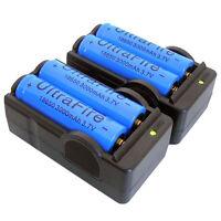4PCS 3000mAh 3.7V 18650 Battery + 2PCS Dual Charger for Headlamp Flashlight Lamp