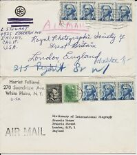 5c Washington joint line coil strips on 4 covers to England, illustrated, etc.