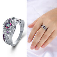 farbige regenbogen topaz 925 silber - ring herz crystal zirkon lila - weißen cz