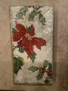 IHR Ideal Home Range Christmas Poinsetia Holly Paper Buffet Guest Towel napkin