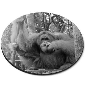 Round Mouse Mat (bw) - Cool Male Sumatran Orangutan  #39246