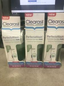 3X Clearasil Perfecta Wash ULTRA New  Box Three Refills Soothing Plant Extracts