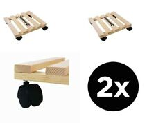 More details for 2 x home diy general dolly trolley platform wheels 60kg easy movement - beech