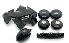 Antique Victorian Whitby Jet Job Lot Jewellery #113