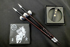 2 CHINESE GOAT HAIR MS WRITING PAINTING BRUSH INK DISH BOX STICK STAND JAPANESE