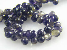 Untreated Natural Sparkling Iolite Faceted Full Drop Briolette Beads -12X