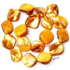 "15-20mm Yellow Natural Shell MOP Freeform Shape Gemstone Loose Beads Strand 15"""