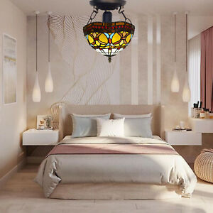 """Tiffany New Style Ceiling Lamp 10"""" Handcrafted Stained Glass Home Decoration UK"""